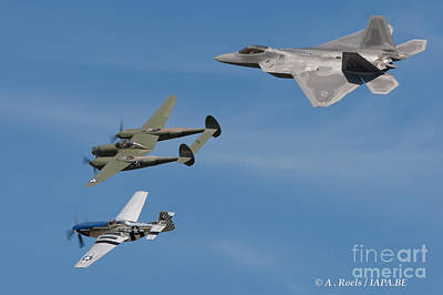 Photograph -  Usaf Heritage Flight With F-22, P-38 And P-51 by Antoine Roels