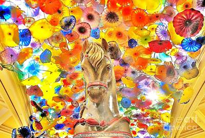 Photograph -  Vegas Horse Flower Power by John King