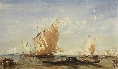 Painting -  Venice, Sailing Boats And Gondolas In The Basin Of San Marco by Felix Ziem