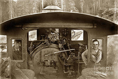 Photograph -  View Of Inside The Cab Of Madera Sugar Pine Lumber Company Circa 1915 by California Views Mr Pat Hathaway Archives