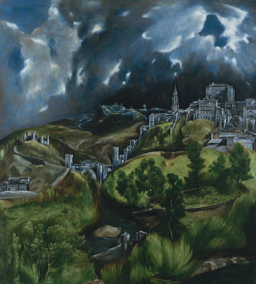 Blue And Green Painting -  View Of Toledo by El Greco