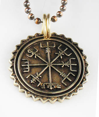 Jewelry -  Viking Vegvisir Nautical Compass - Bronze - Necklace - Pendant by Vagabond Folk Art - Virginia Vivier