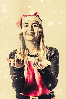 Vintage Girl Celebrating A White Christmas Art Print