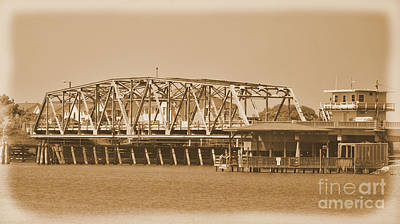 Photograph -  Vintage Swing Bridge In Sepia 5 by Bob Sample
