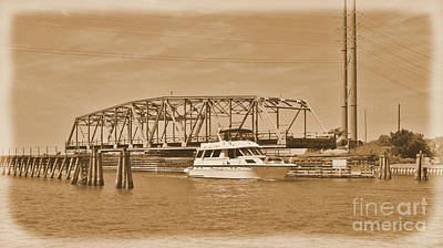 Photograph -  Vintage Swing Bridge In Sepia 2 by Bob Sample