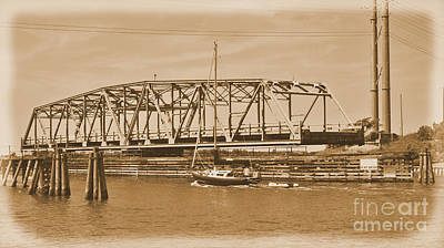 Photograph -  Vintage Swing Bridge In Sepia 3 by Bob Sample