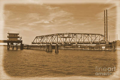 Photograph -  Vintage Swing Bridge In Sepia 4 by Bob Sample