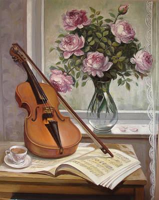Naturmort Painting -  Violin With Roses by Venera Koch