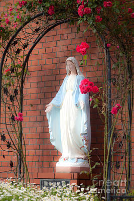 Photograph -  Virgin Mary With Roses by Aiolos Greek Collections