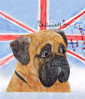 Watercolor Pet Portraits Digital Art -  Watercolor Postcard Dogs Bullmastiff by Maryna Lievshyna