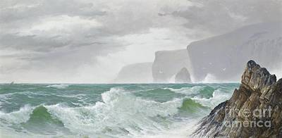 Mountainous Painting -  Waves Crashing Onto The Cornish Coast by Celestial Images