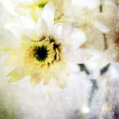 Yellow Mixed Media -  White Flower by Linda Woods