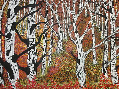 Painting -  Whitebirch Forest by Jeffrey Koss