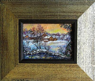 Wood-frame Houses Painting -  Winter Evening. by Maya Bukhina