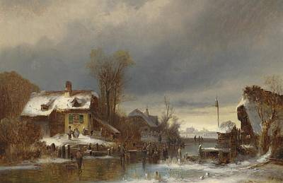 Landscape Painting -  Winter Fun by Celestial Images