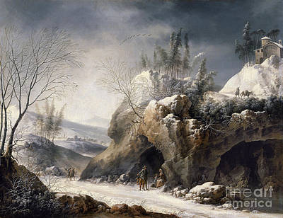 1780 Painting -  Winter Landscape With A Peasant Family by MotionAge Designs