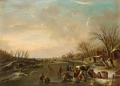 Horse And Sleigh Painting -  Winter Scene With Skaters by Celestial Images