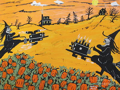 Shift Painting -  Witches Pumpkin Patch 500 by Jeffrey Koss
