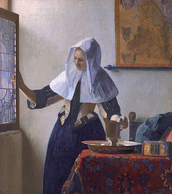 Painting -  Woman With A Water Jug by Johannes Vermeer