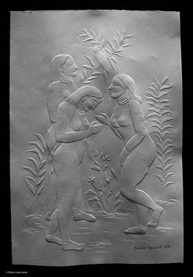 Art Print featuring the relief  Women Bathers by Suhas Tavkar