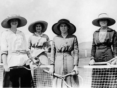 Womens Tennis Photograph -  Womens Tennis Team 1914 1915 Black White 1910s by Mark Goebel