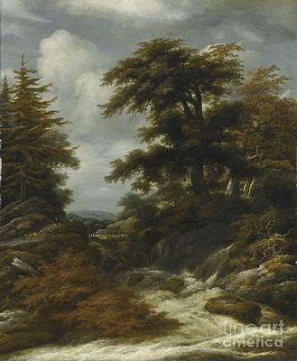 Painting -  Wooded Landscape With Waterfall by Circle of Jacob Isaacsz van Ruisdael