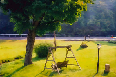 Empty Chairs Painting -  Wooden Swing In The Garden by Lanjee Chee