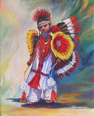 Pow Wow Painting -  Young Dancer by Victoria Mauldin