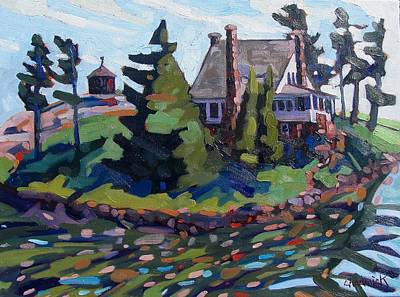 St. Lawrence River Painting -  Zavicon Island by Phil Chadwick