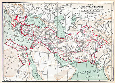 Painting - Map Of Macedonian Empire by Granger