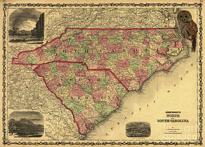 Photograph - Nc And Sc Map by Dale Powell