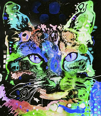 Limited Edition Mixed Media - 0002 Cat By Nixo by Nicholas Nixo
