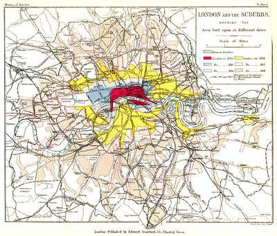 London Map Painting - Map Of London, 1881 by Granger