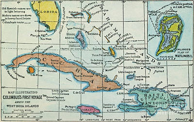 Painting - Columbus: West Indies Map by Granger