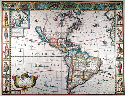 Painting - New World Map, 1616 by Granger