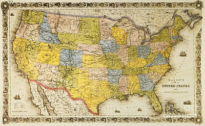 Painting - United States Map, 1866 by Granger