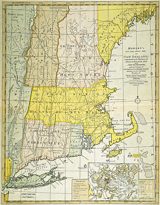 New England Map, C1775 Art Print by Granger