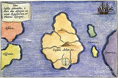 Map Of Atlantis, 1678 Art Print by Granger