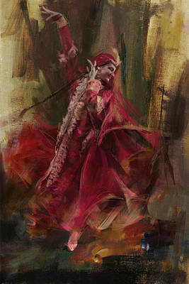 Of Hijabs Painting - 001 Pakhtun by Maryam Mughal