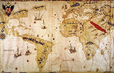 Painting - Vespucci's World Map, 1526 by Granger
