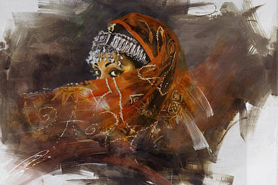 Of Hijabs Painting - 002 Pakhtun  by Mahnoor Shah