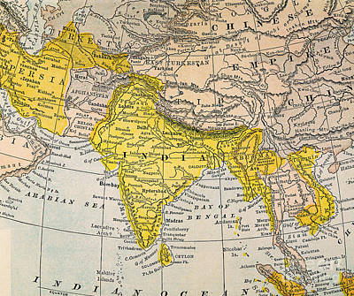 Burmese Python Painting - Asia Map, 19th Century by Granger