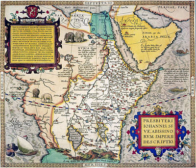 Painting - African Map, 1595 by Granger