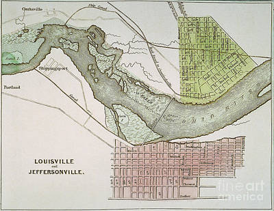 Ohio River Painting - Jeffersonville, Indiana: Map by Granger