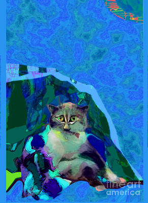 Digital Art - 007 The Under Covers Cat by Zsanan Narrin