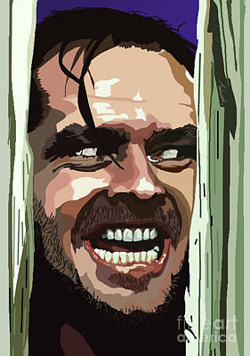 The Shining Digital Art - 008. Heres Johnny by Tam Hazlewood