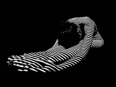 Photograph - 0086-dja Feet First Zebra Woman Striped Black White  by Chris Maher