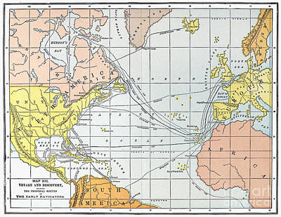 Cabot Painting - Map: Atlantic Voyages by Granger
