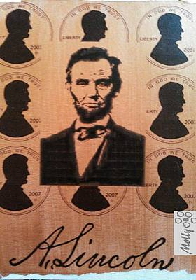 Honest Abe Painting - .01 by Molly Bloom