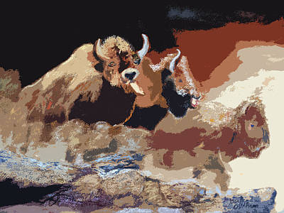 Digital Art - 010316 Ancient Buffalo Hunt by Garland Oldham